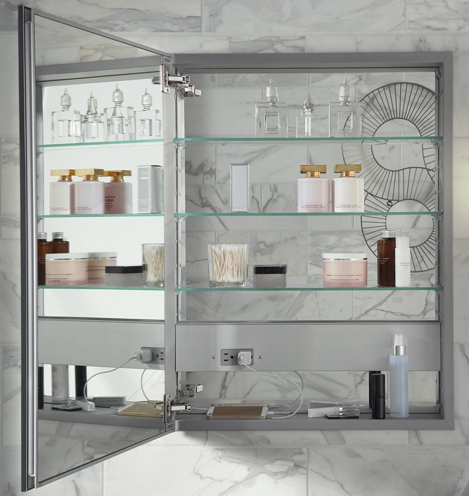 Classic Framed Medicine Cabinet with Outlet - Brushed Nickel ...