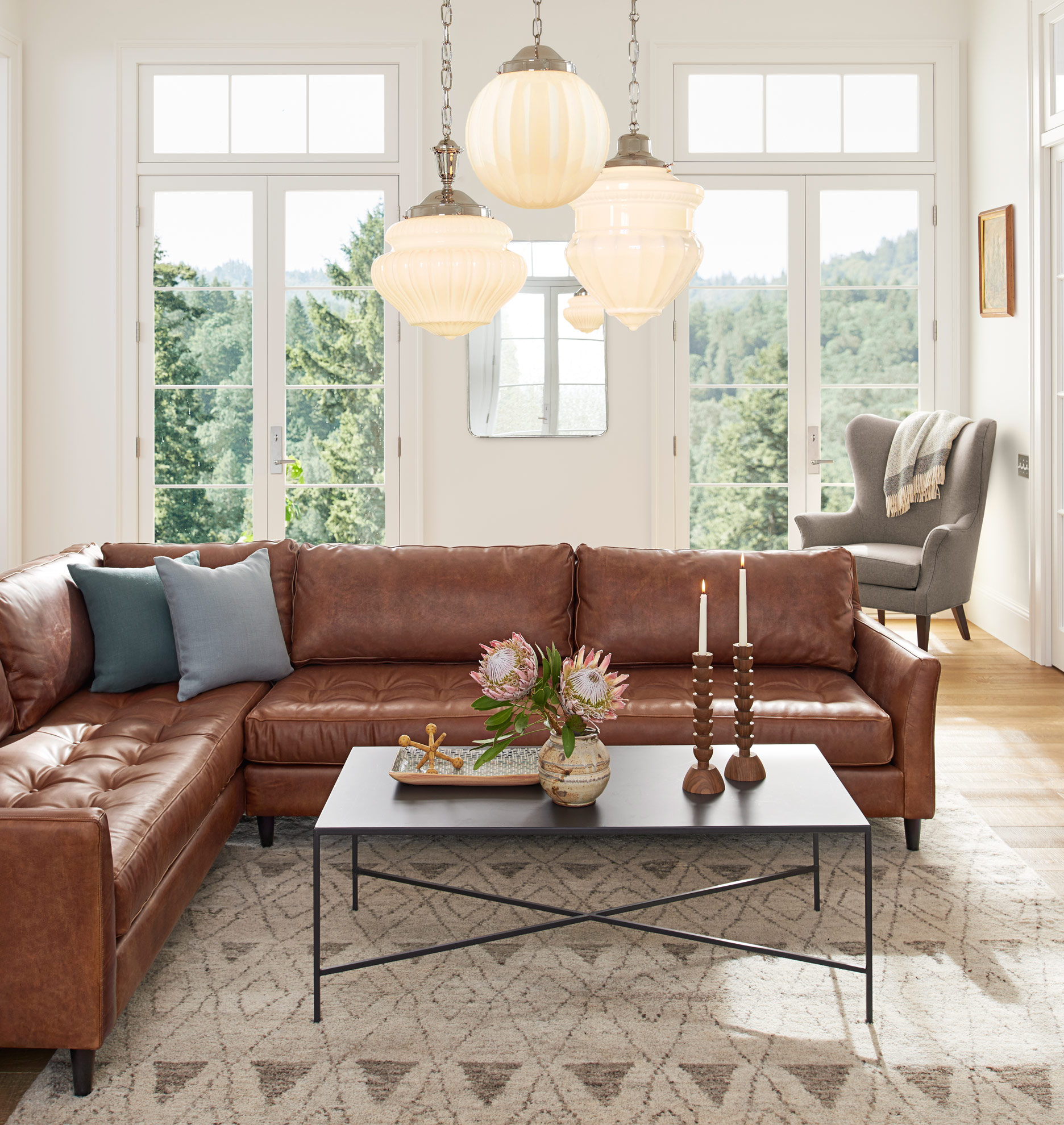 Hastings Sectional Leather Sofa Right Arm