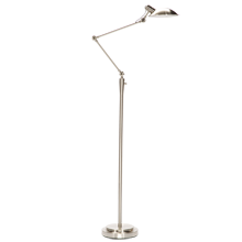 Modern Industrial LED Floor Lamp - Brushed Nickel