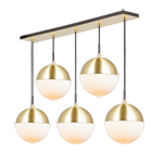 Cedar & Moss 8in 5-Light Multipendant 36in Rectangle - Stagger Drop