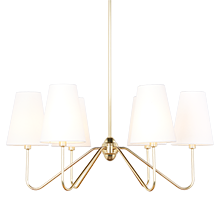 Berkshire 6-Arm Chandelier - Aged Brass with Linen Shades
