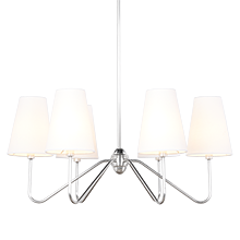 Berkshire 6-Arm Chandelier - Antique Silver with Linen Shades