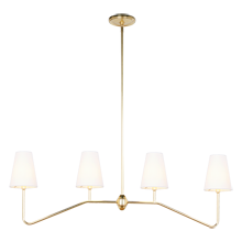 Berkshire Linear Pendant - Aged Brass with Linen Shades