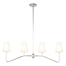 Berkshire Linear Pendant - Antique Silver with Linen Shades