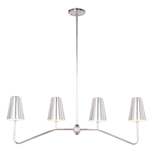 Berkshire Linear Pendant - Antique Silver with Metal Shades