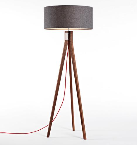 Folk Tripod Floor Lamp Walnut Rejuvenation