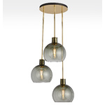 Edendale Straight 3-Light Pendant - Smoke Glass