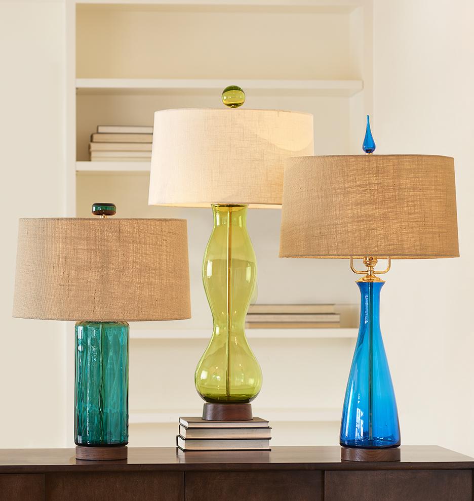 blenko handblown turquoise carafe table lamp rejuvenation. Black Bedroom Furniture Sets. Home Design Ideas