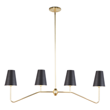 Berkshire Linear Pendant - Aged Brass with Oil-Rubbed Bronze Shades