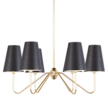 Berkshire 6-Arm Chandelier - Oil-Rubbed Bronze with Aged Brass Shades