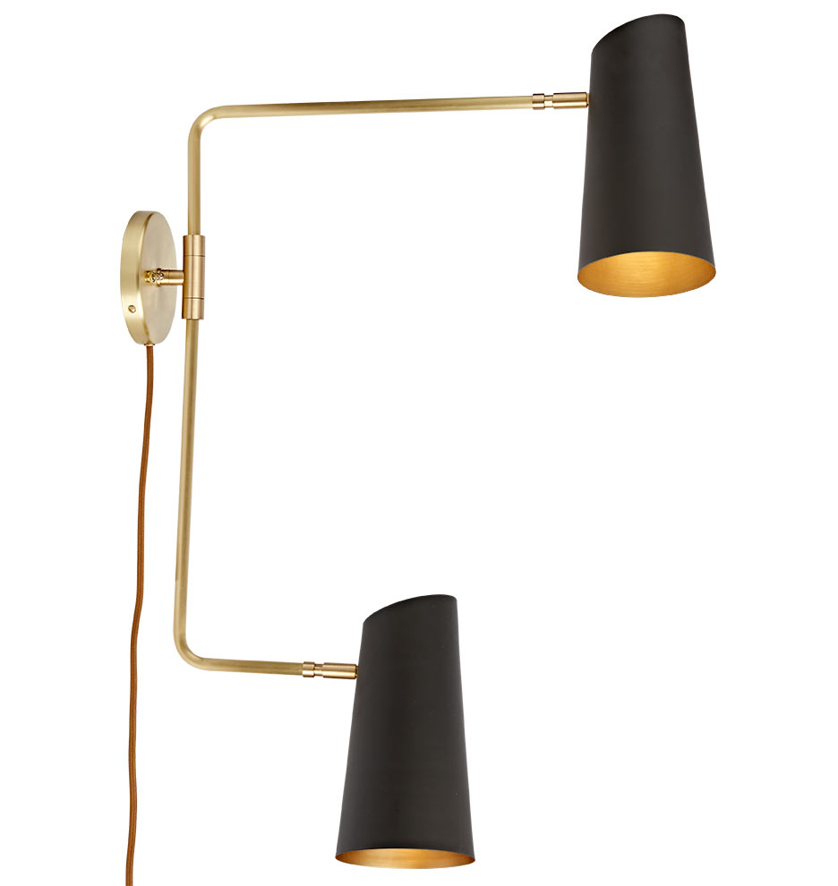 Wall Lighting Swing Arm Lamps : Cypress Double Swing Arm Sconce Plug-In Rejuvenation