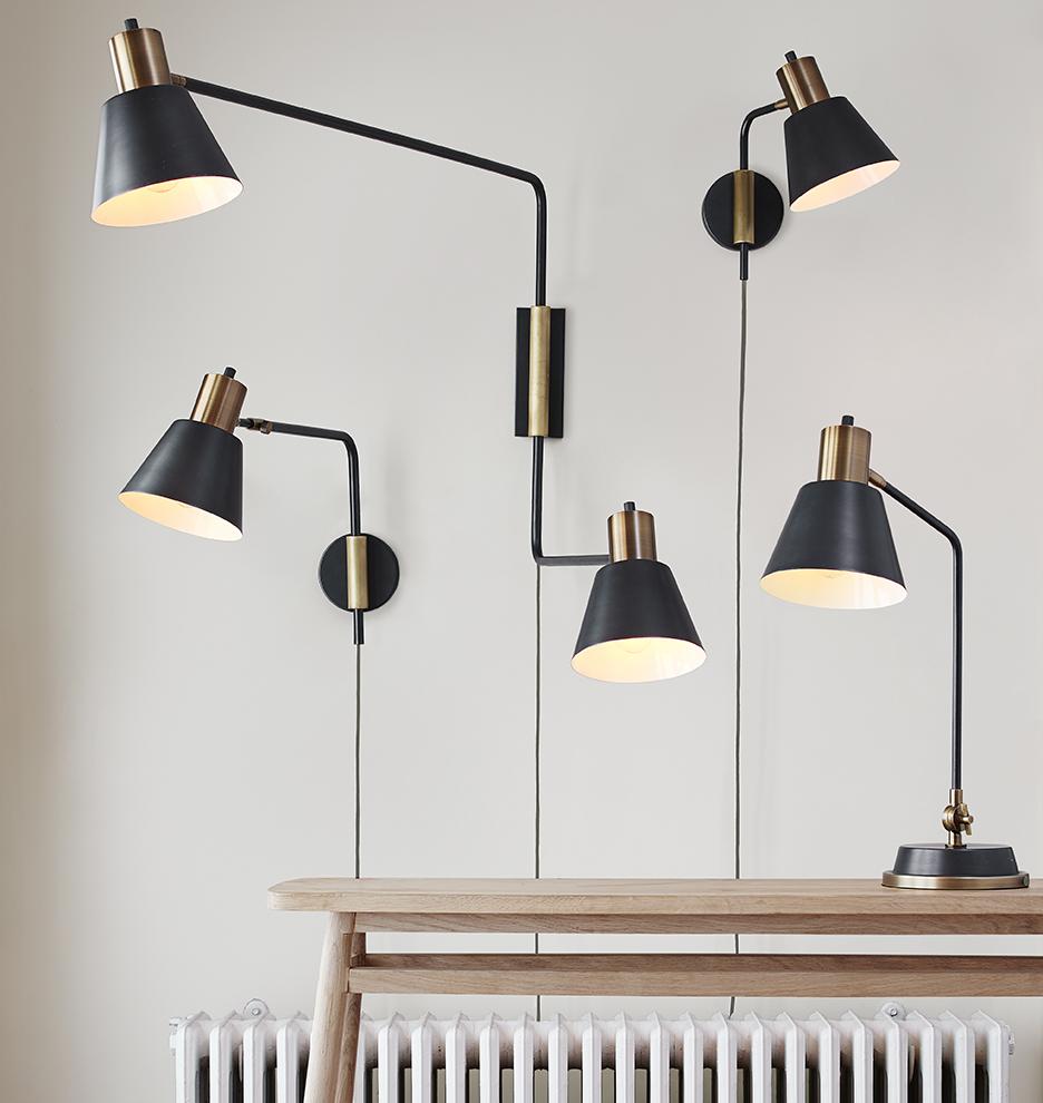 cylinder task double arm wall light rejuvenation. Black Bedroom Furniture Sets. Home Design Ideas