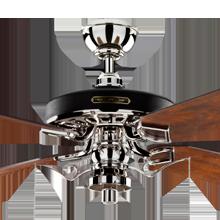 Heron Ceiling Fan with Light Kit Polished Nickel Fumed Oak Blades No Shade