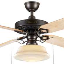 Heron Ceiling Fan with Light Kit Aged Bronze Maple Blades Opal Low Profile Schoolhouse
