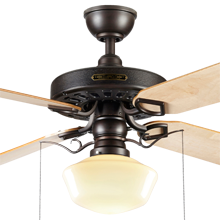 Heron Ceiling Fan with Light Kit Aged Bronze Maple Blades Classic Opal Schoolhouse Shade