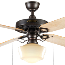 Heron Ceiling Fan with Light Kit Aged Bronze Maple Blades Opal Ogee Schoolhouse Shade