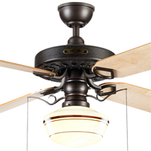 Heron Ceiling Fan with Light Kit Aged Bronze Maple Blades Classic Opal Schoolhouse Shade Coffee Stripe