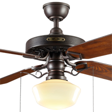 Heron Ceiling Fan with Classic Opal Shade