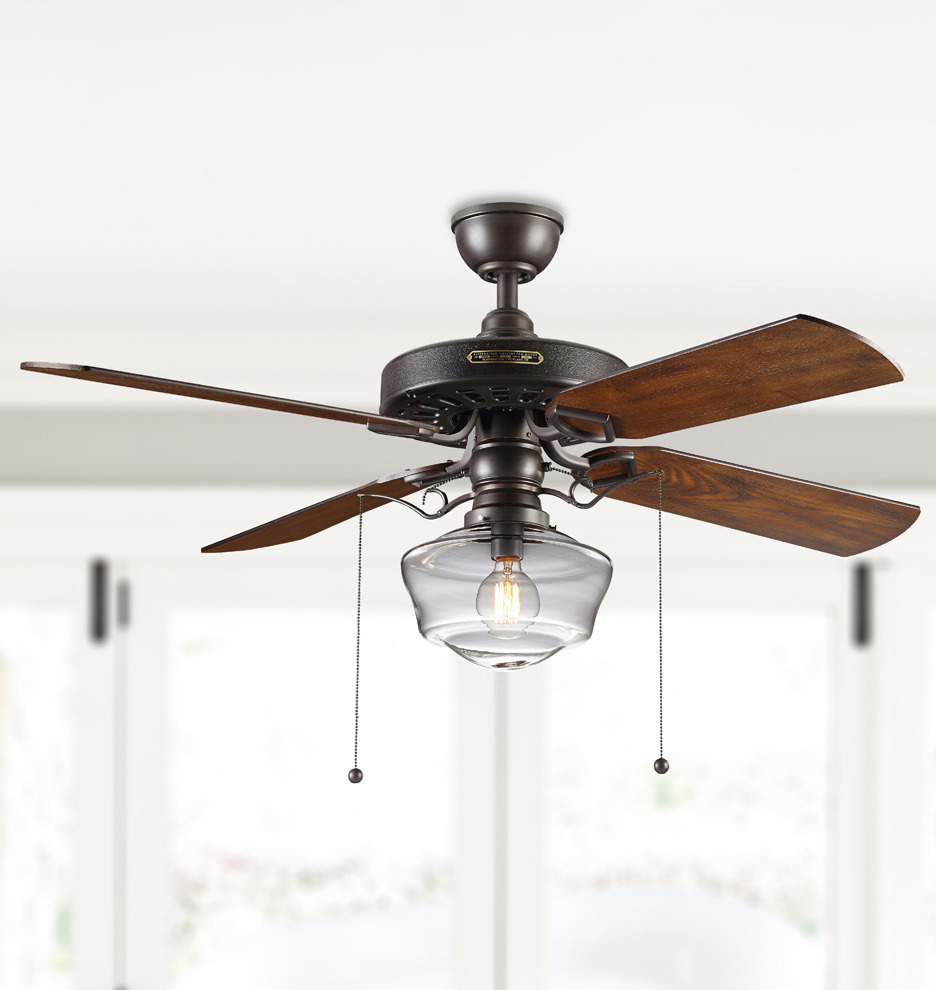 Heron Ceiling Fan With Clear Ogee Shade Heron 4 Blade