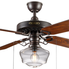 Heron Ceiling Fan with Light Kit Aged Bronze Fumed Oak Blades Clear Ogee Schoolhouse Shade