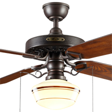 Heron Ceiling Fan with Opal Coffee Striped Shade
