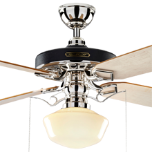Heron Ceiling Fan with Light Kit Polished Nickel Maple Blades Classic Opal Schoolhouse Shade