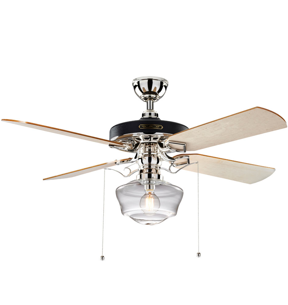 Heron Ceiling Fan With Light Kit Polished Nickel Maple