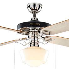 Heron Ceiling Fan with Light Kit Polished Nickel Maple Blades Opal Ogee Schoolhouse Shade