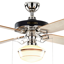 Heron Ceiling Fan with Light Kit Polished Nickel Maple Blades Classic Opal Schoolhouse Shade Coffee Stripe