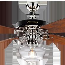 Heron Ceiling Fan with Light Kit Polished Nickel Fumed Oak Blades Clear Ogee Schoolhouse Shade