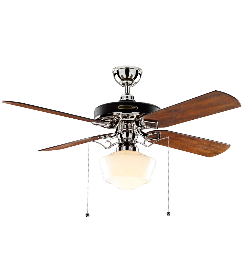 Oak Ceiling Fans With Lights : Heron ceiling fan with light kit polished nickel fumed oak