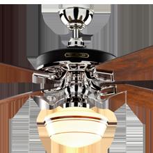 Heron Ceiling Fan with Light Kit Polished Nickel Fumed Oak Blades Classic Opal Schoolhouse Shade Coffee Stripe