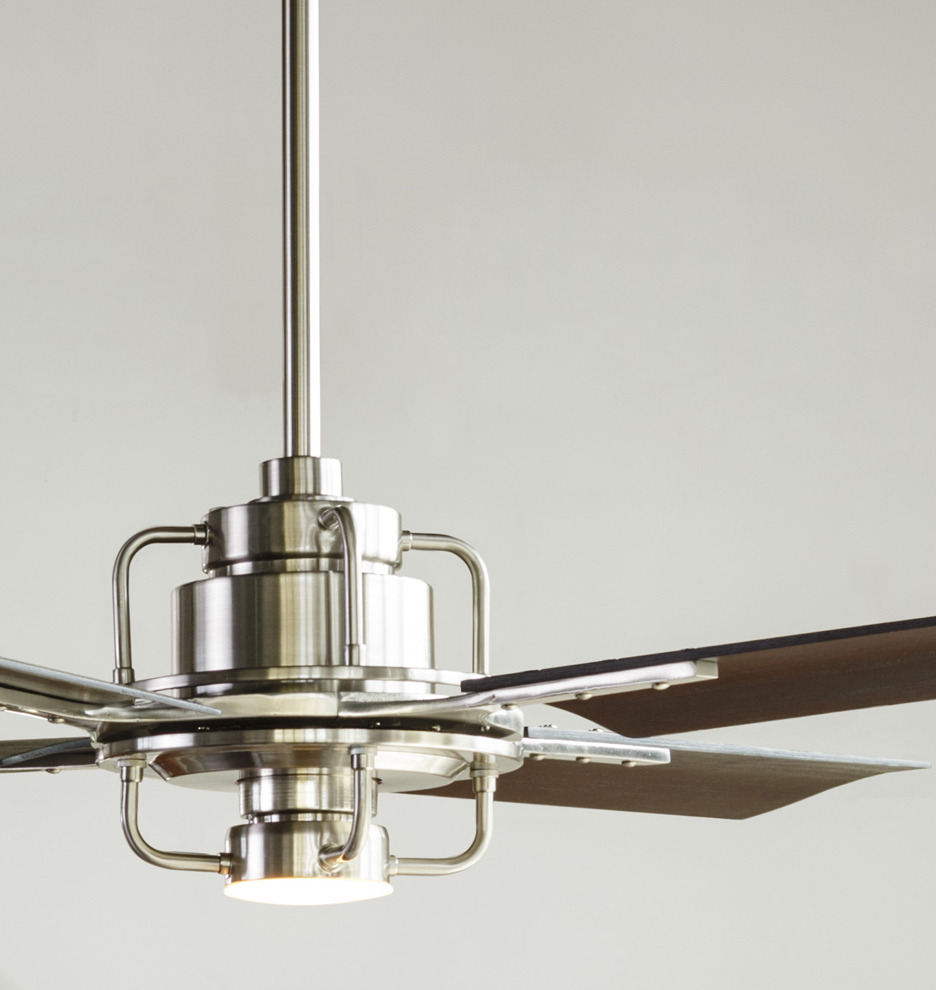 Peregrine industrial led ceiling fan peregrine industrial led 4 blade ceiling fan rejuvenation - Industrial style ceiling fan with light ...