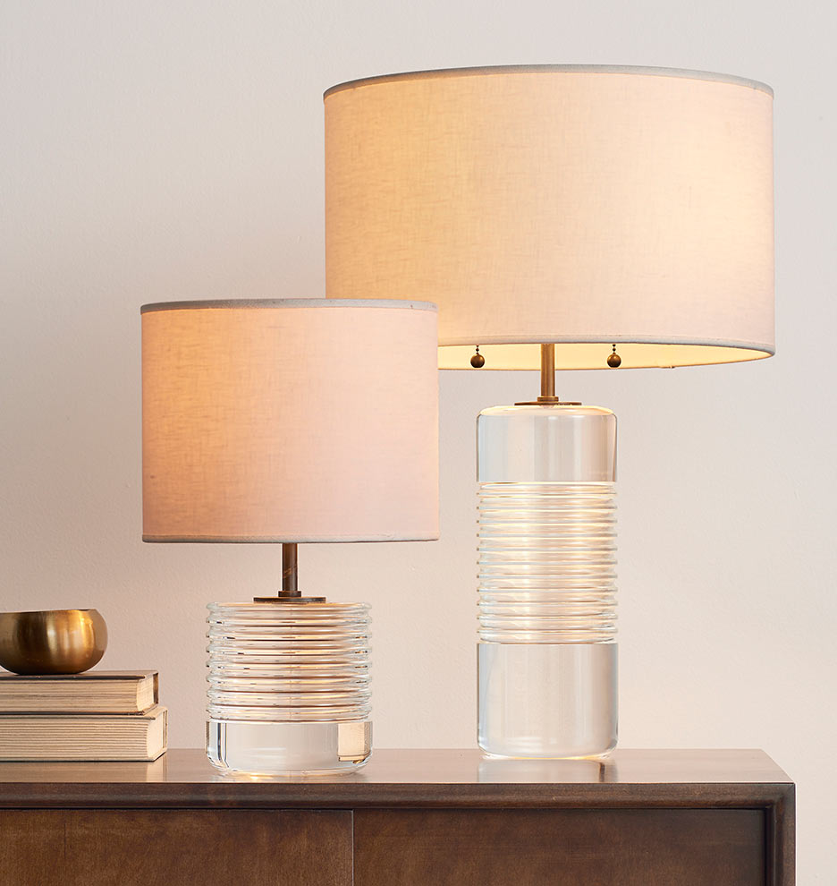 Tall Cut Crystal Table Lamp