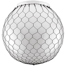 14in. Opal Globe Shade with Wire Mesh