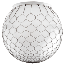 12in. Opal Globe Shade with Wire Mesh