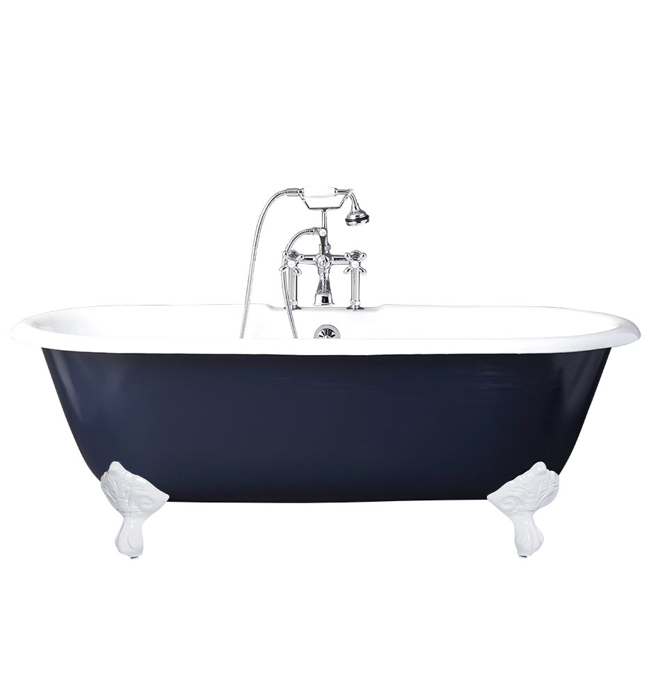 5-1/2\' Double-Ended Clawfoot Tub with Navy Exterior | Rejuvenation