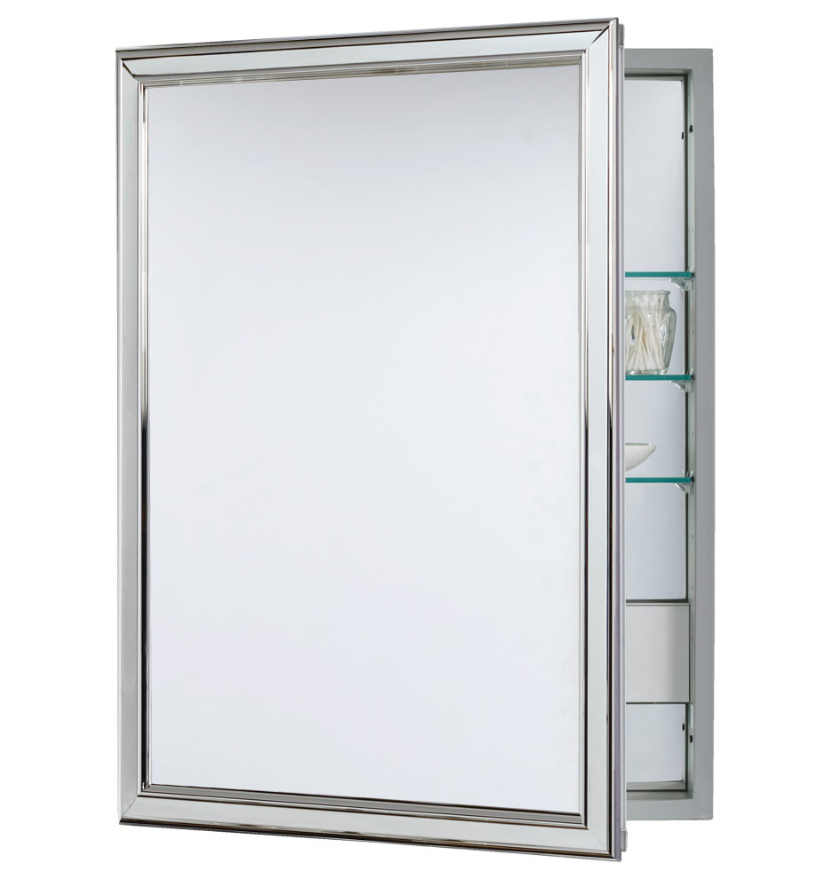 Classic Framed Medicine Cabinet with Outlet - Polished Chrome -  Semi-Recessed | Rejuvenation