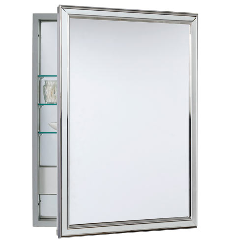 Classic Framed Medicine Cabinet with Outlet - Polished Chrome ...