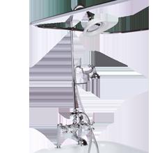Deck-Mount Tub Filler with Shower Enclosure & Handshower - Polished Chrome