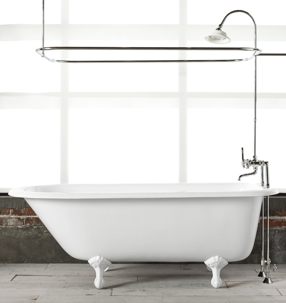 5 1 2 39 clawfoot tub with white exterior rejuvenation for Clawfoot tubs with shower