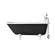 5' Clawfoot Tub with Black Exterior