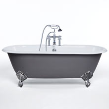 5-1/2' Double-Ended Clawfoot Tub with Gray Exterior