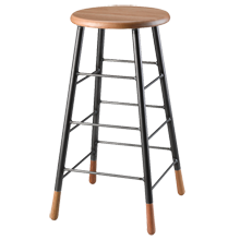 Oak and Metal Bar Stool