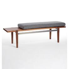 Folk Walnut & Steel Bench with Wool Cushion