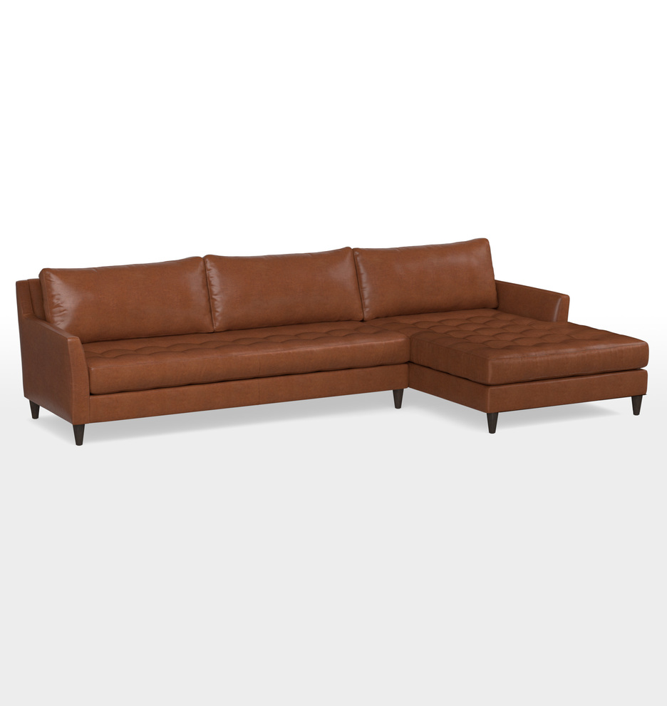 Hastings Sectional Leather Sofa Chaise Right