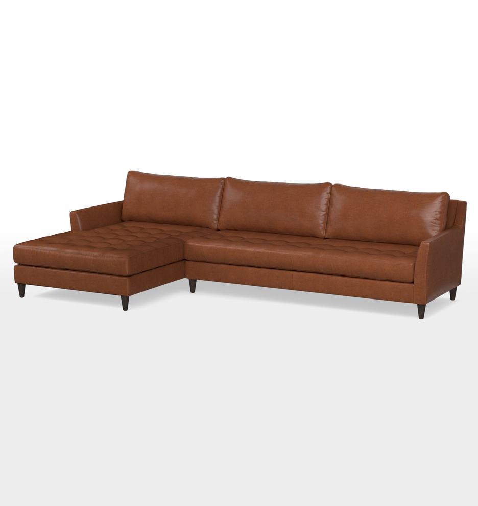 . Hastings Sectional Leather Sofa   Chaise Left   Rejuvenation