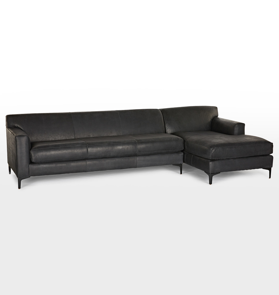 Hawthorne Leather Sectional Sofa - Chaise Right | Rejuvenation
