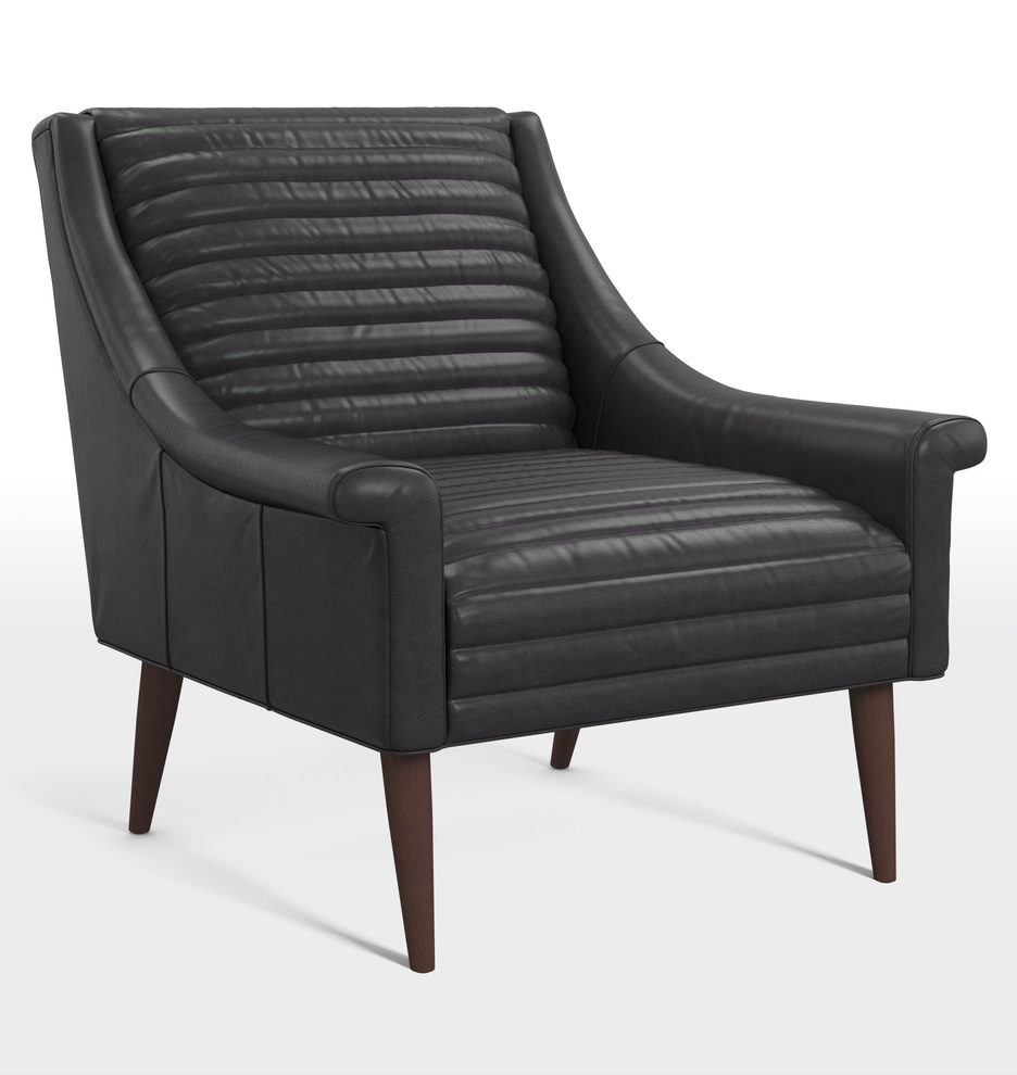 Black leather chair and a half - Dempsey Leather Chair