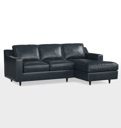 Garrison small sectional leather sofa right chaise for Garrison leather sectional sofa